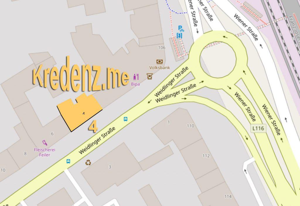 Lageplan Kredenz.me (c) openstreetmap.org